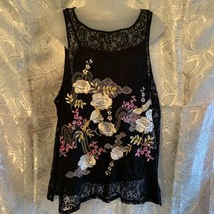 ⭐️Lace Floral Beaded Top
